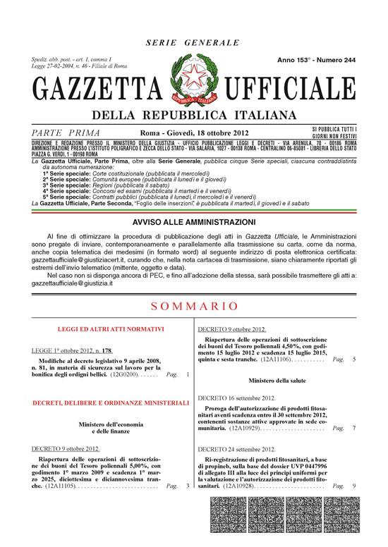 legge 177/2012 - Bonifica bellica
